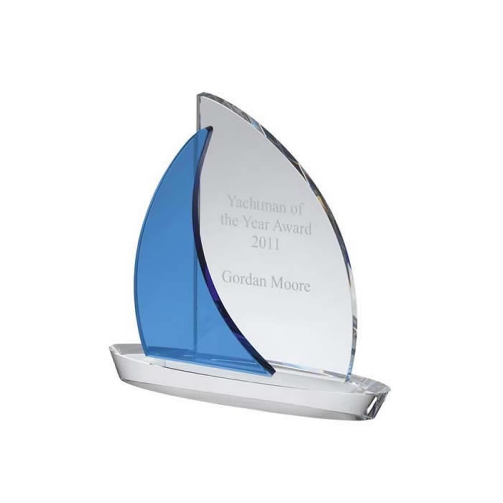 8 Inch Curved Blue & Clear Sail Optical Crystal Award