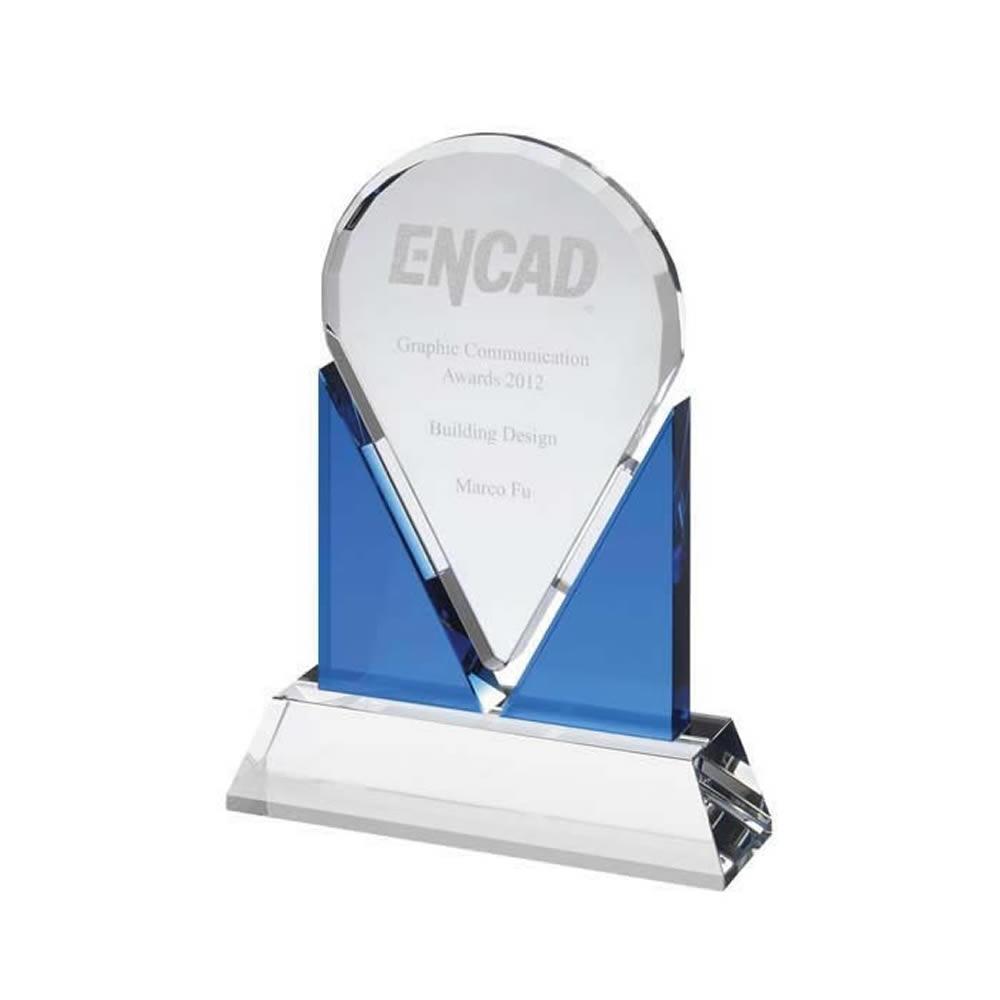 8 Inch Clear Marker On Blue Optical Crystal Award