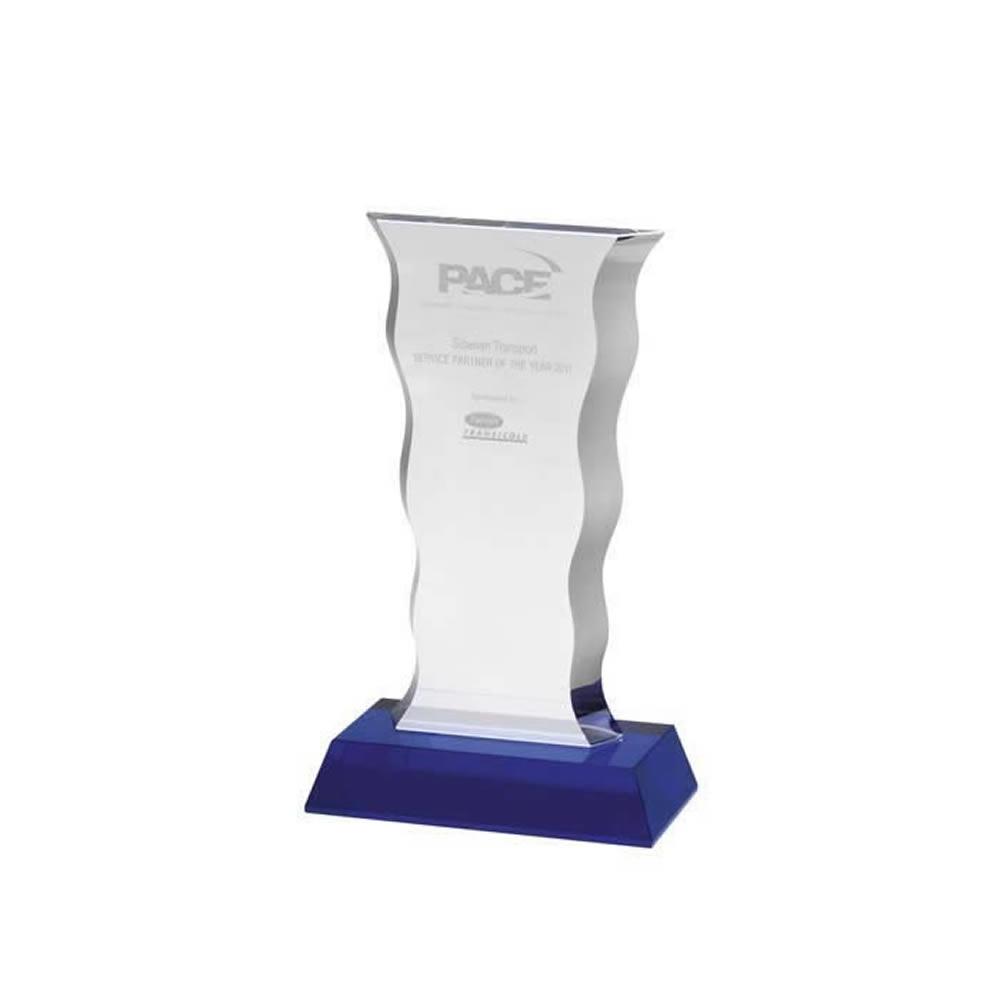 8 Inch Swirl Edge Optical Crystal Award