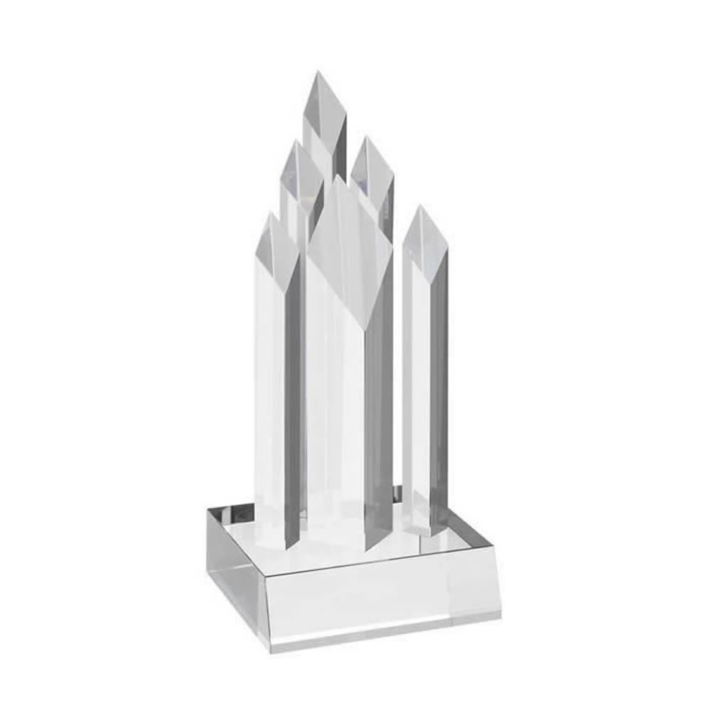 8 Inch Tall Diamond Shapes Optical Crystal Award