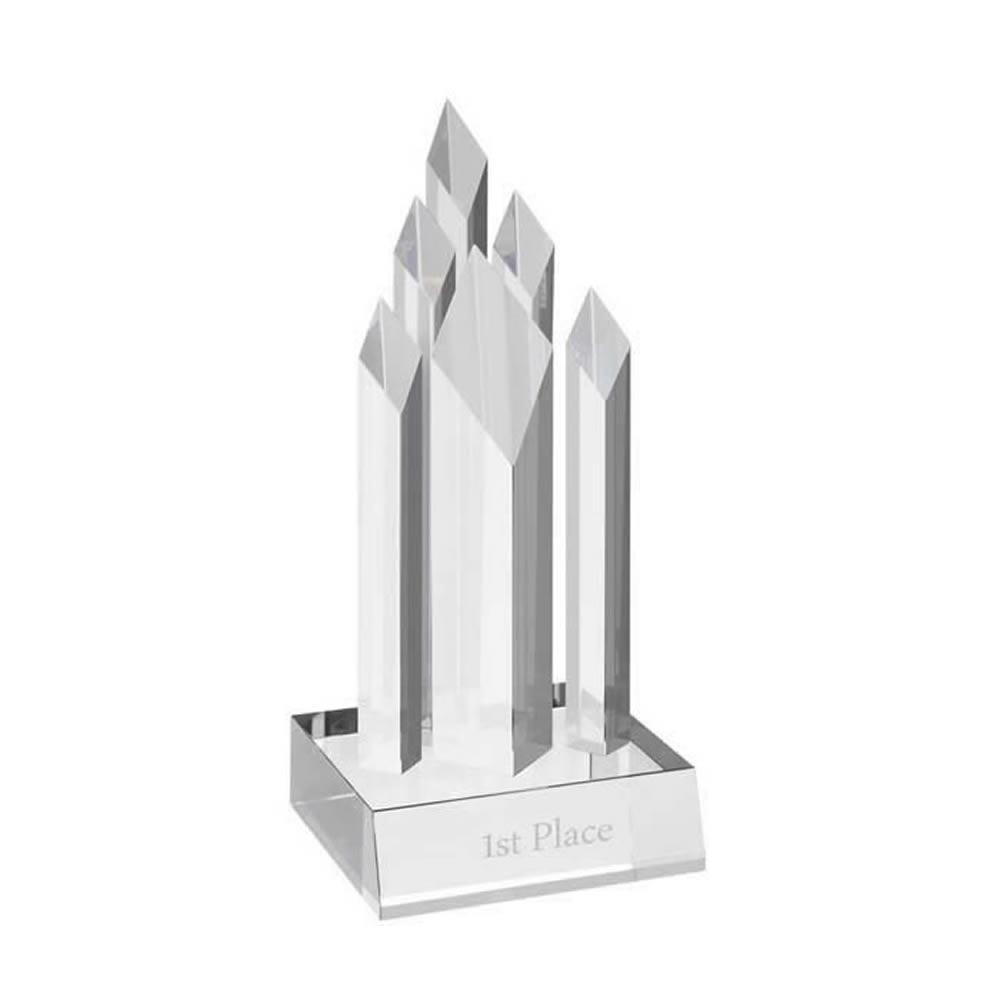 12 Inch Tall Diamond Shapes Optical Crystal Award