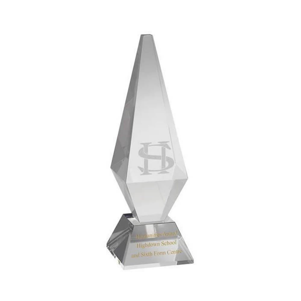 9 Inch Solid Pyramid Optical Crystal Award