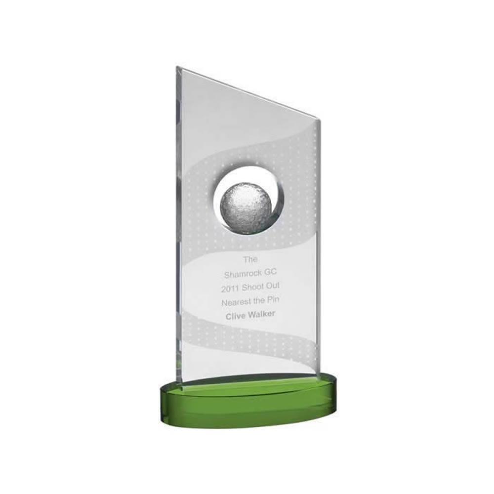10 Inch Slanted Golf Ball In Hole Golf Optical Crystal Award