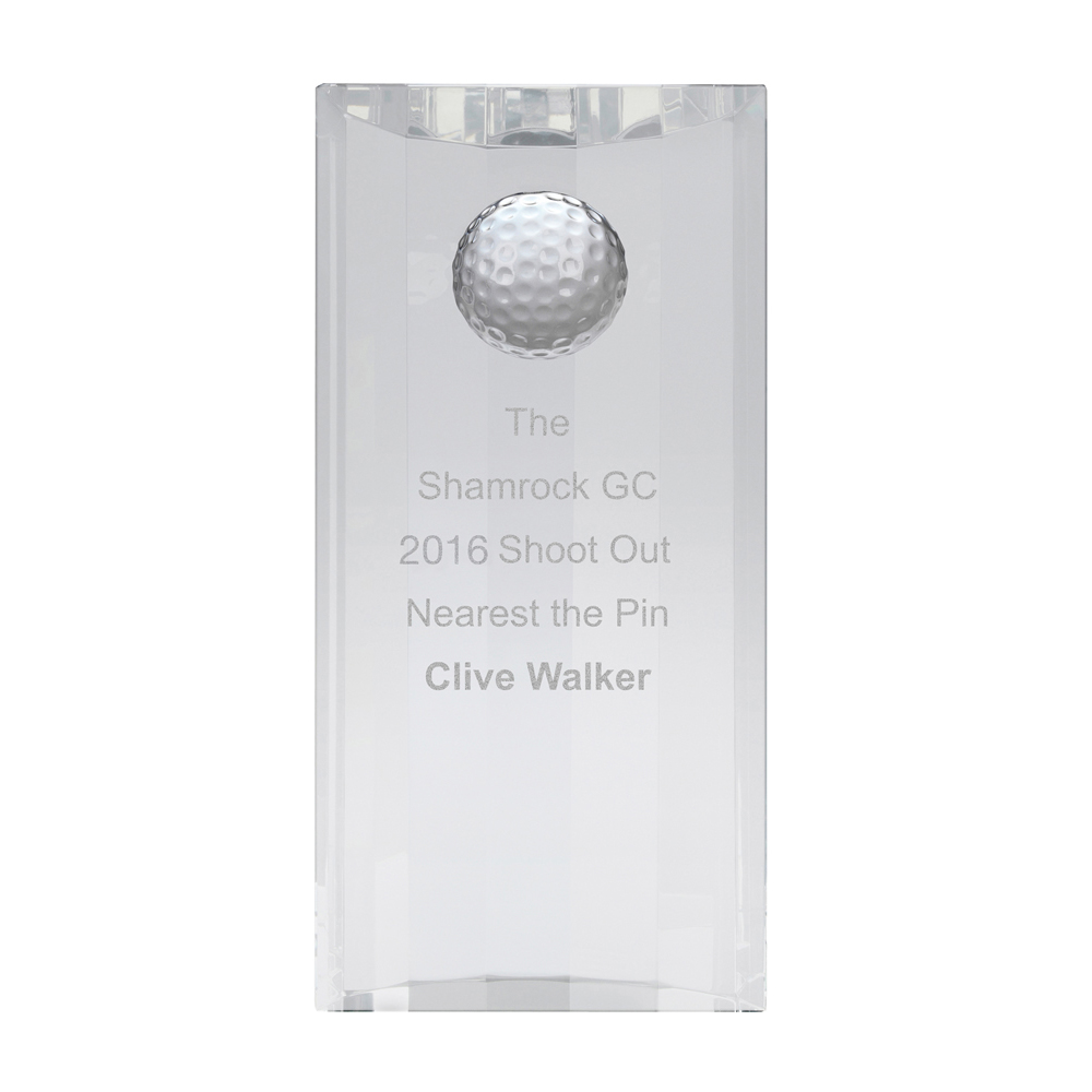 8 Inch Free Standing Ball Plaque Golf Optical Crystal Award