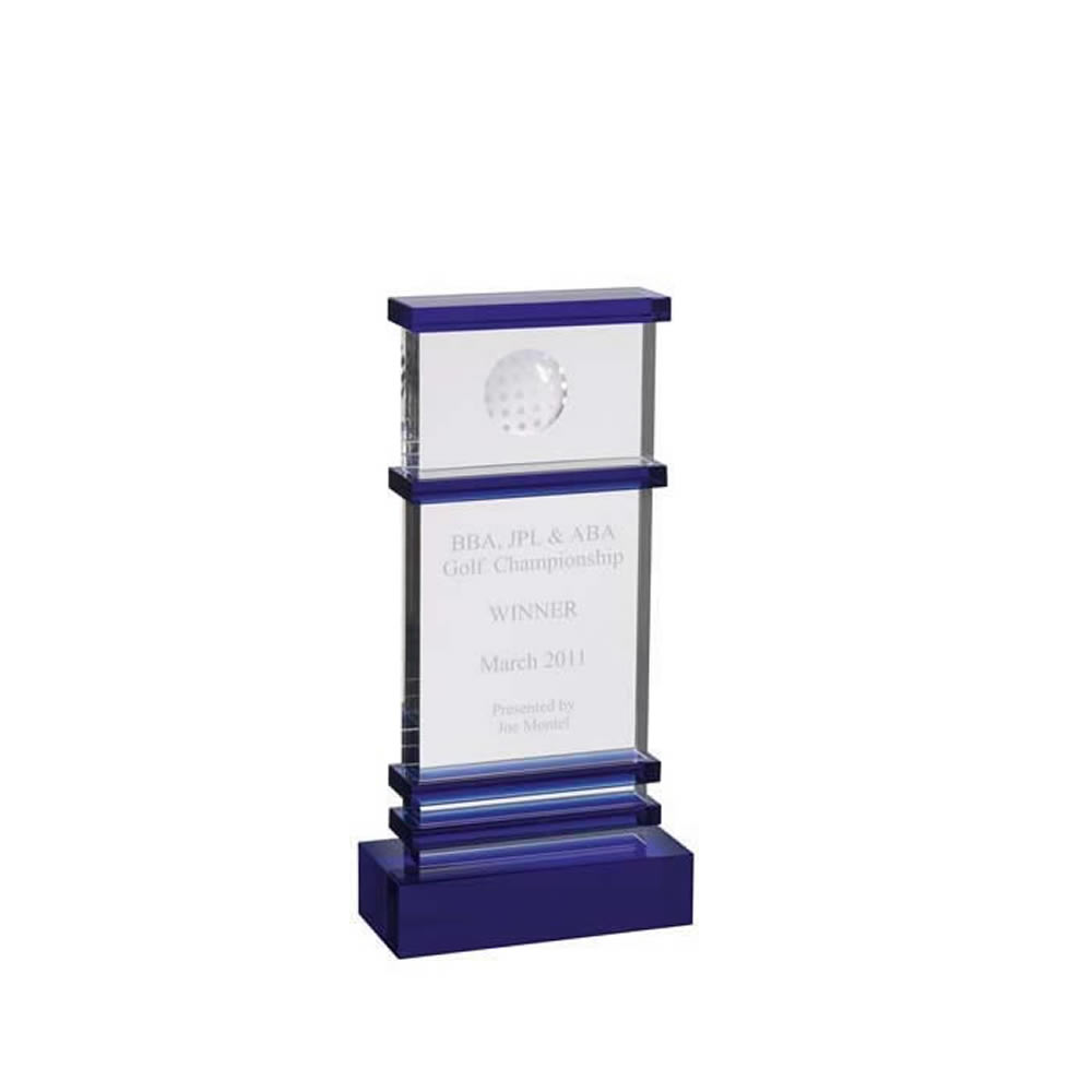 9 Inch Tall Golf Optical Crystal Award