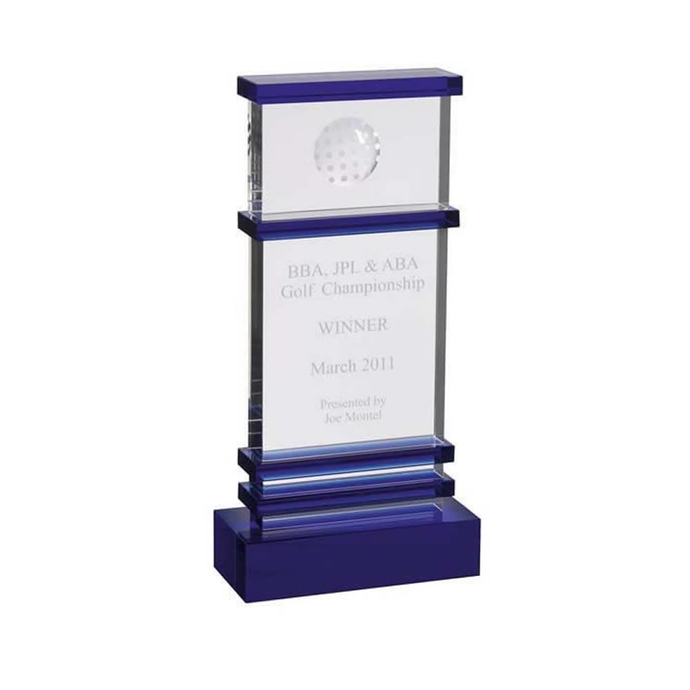 11 Inch Tall Golf Optical Crystal Award
