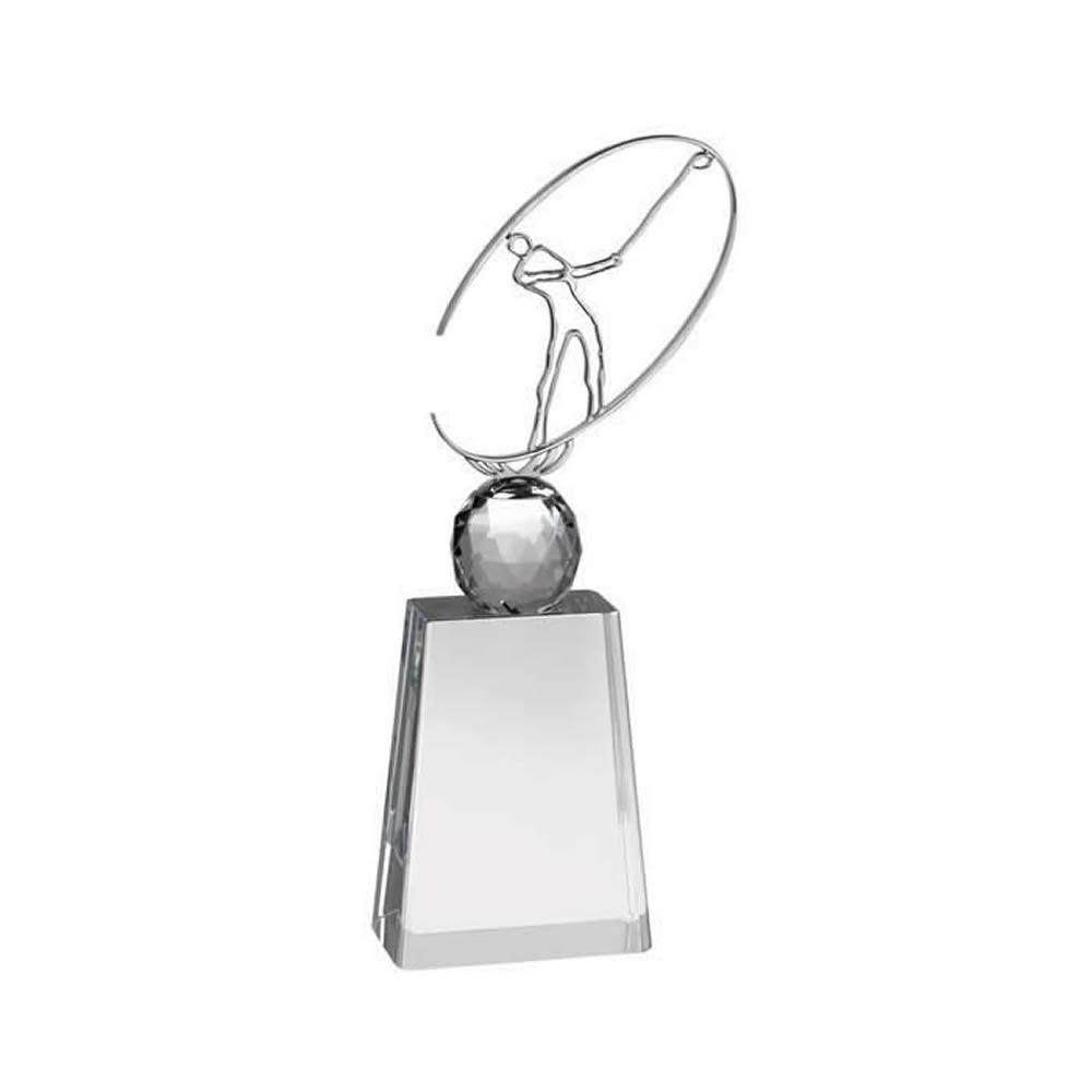 10 Inch Metal Swing Figure Golf Optical Crystal Award