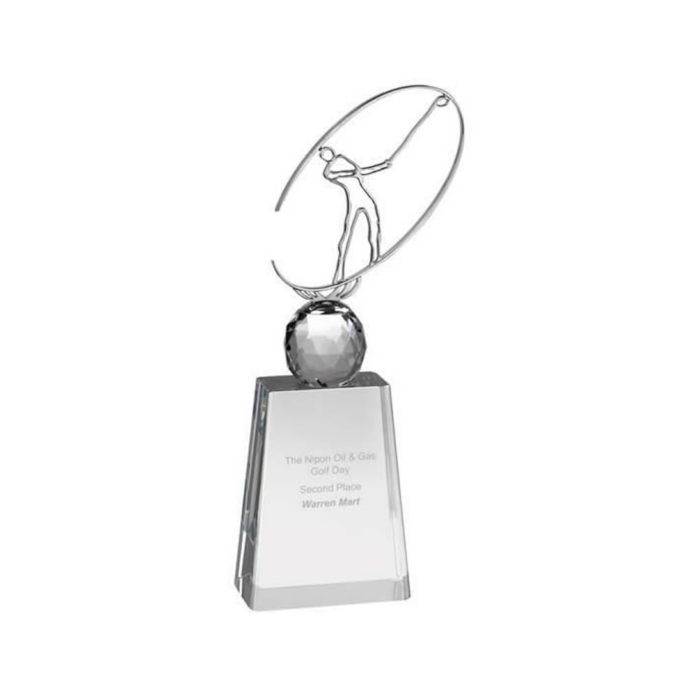 11 Inch Metal Swing Figure Golf Optical Crystal Award