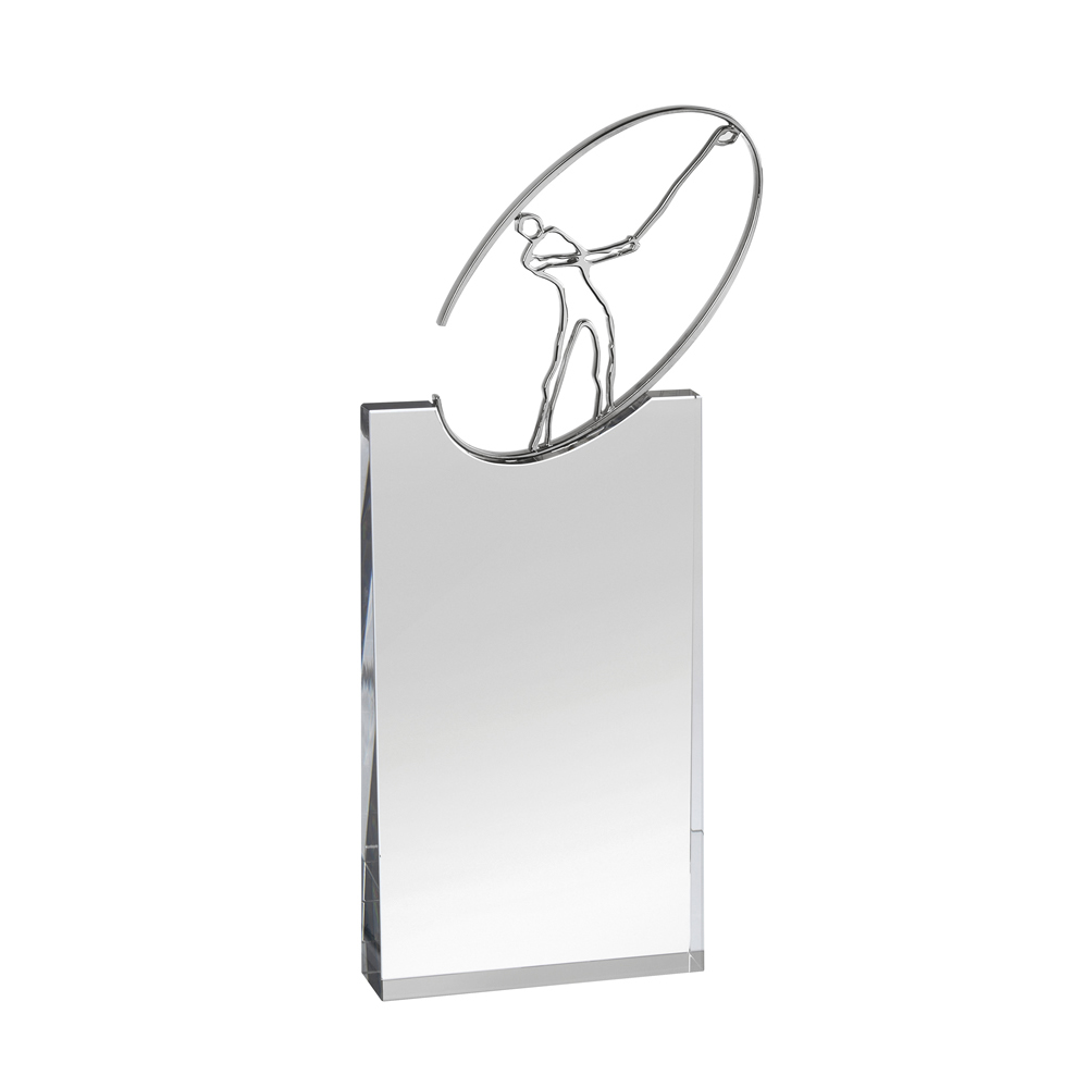 12 Inch Metal Swing Figure On Plaque Golf Optical Crystal Award