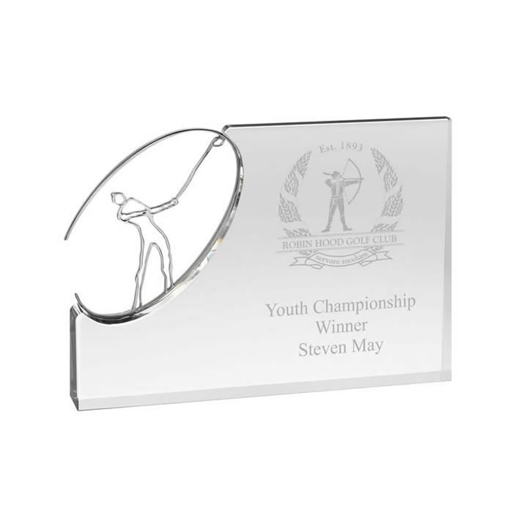 10 x 7 Inch Golf Swing Plaque Golf Optical Crystal Award