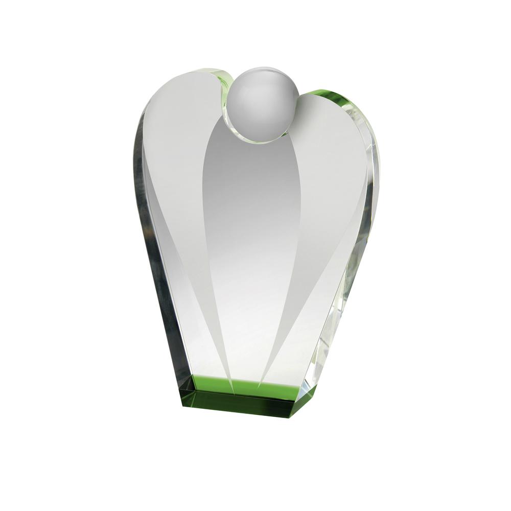 7 Inch Solid Clear & Blue Optical Crystal Award
