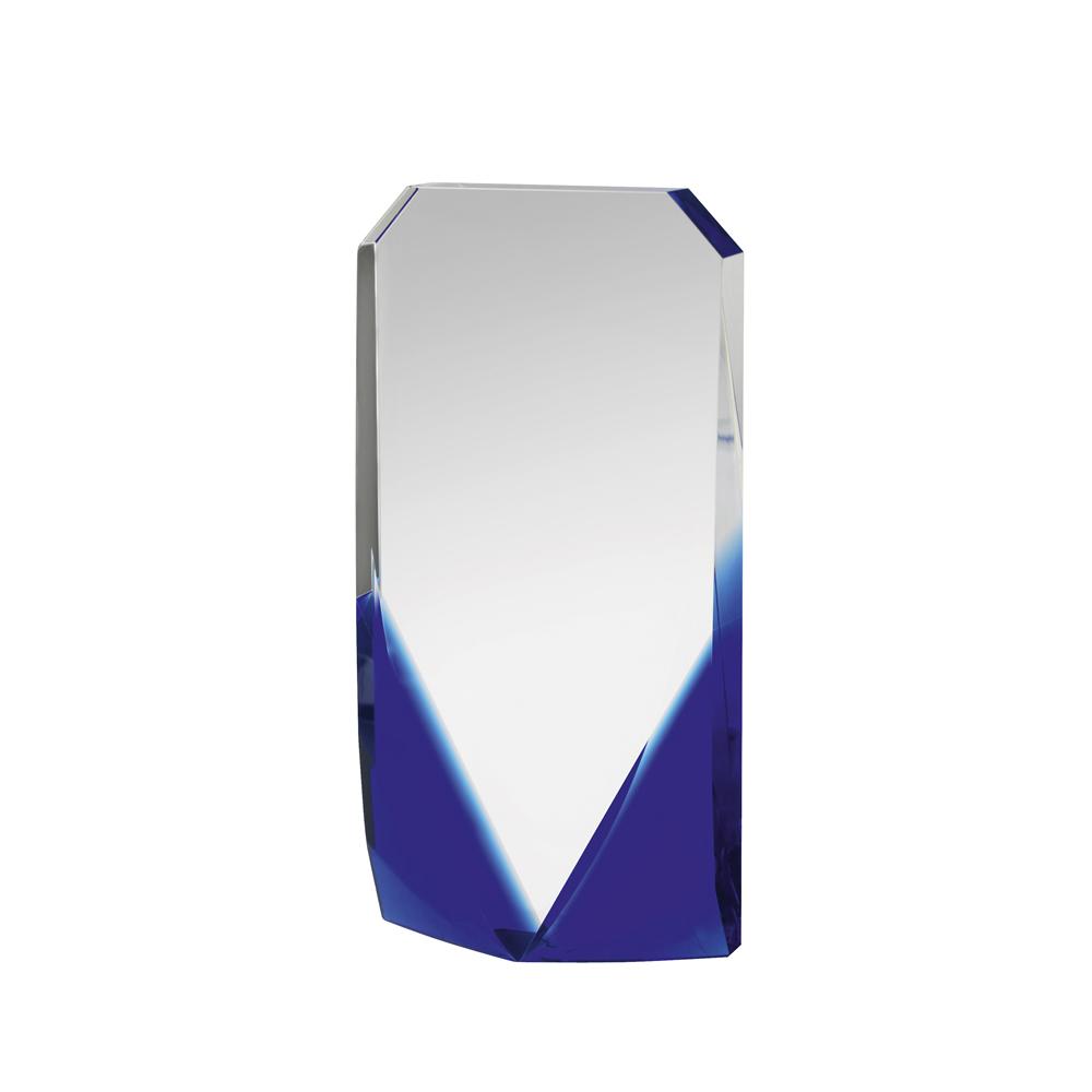 9 Inch Solid Clear & Blue Optical Crystal Award