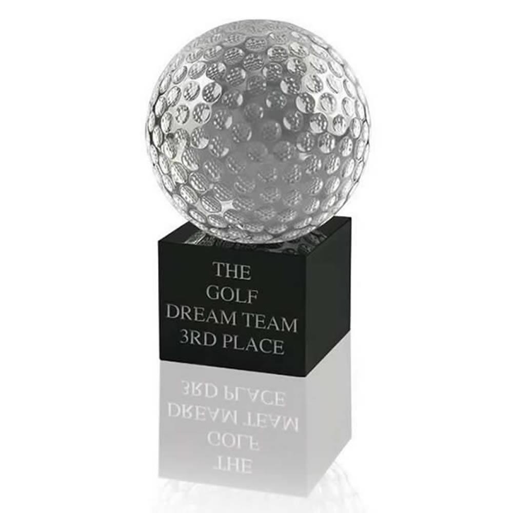 4 Inch Swatkins Golf Ball And Base Small Optical Crystal Golf Award