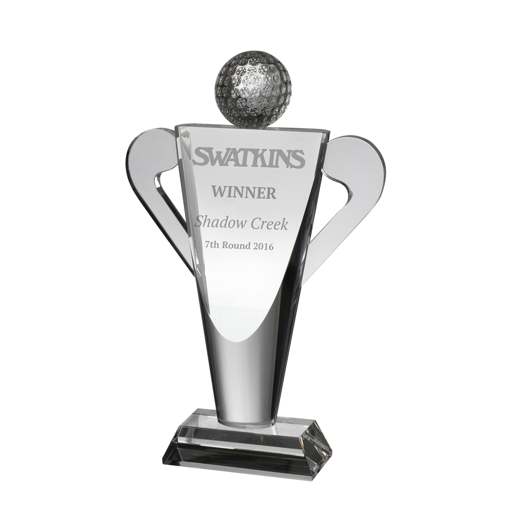 9 Inch Clubs & Ball Golf Optical Crystal Award