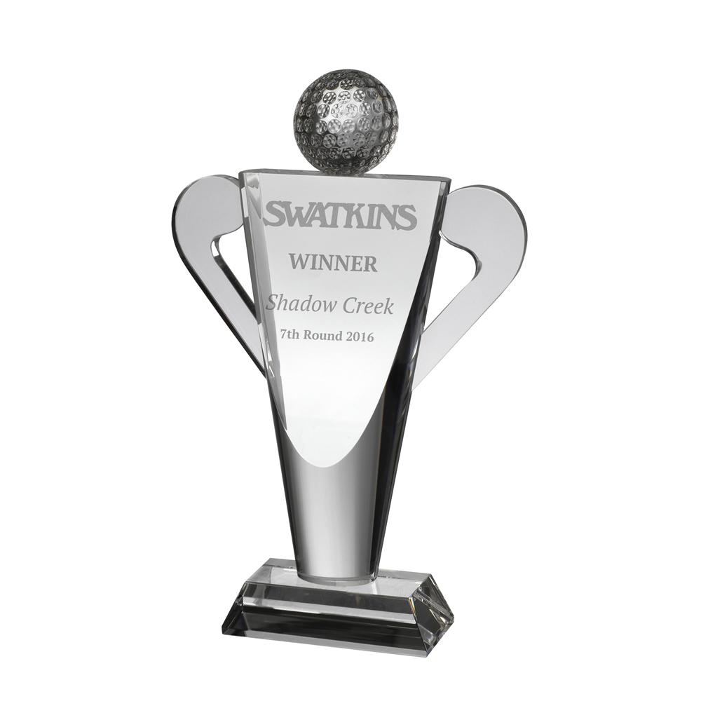 10 Inch Clubs & Ball Golf Optical Crystal Award
