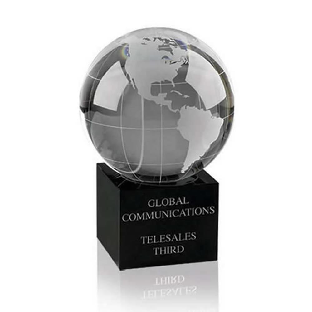 4 Inch World Globe Optical Crystal Award