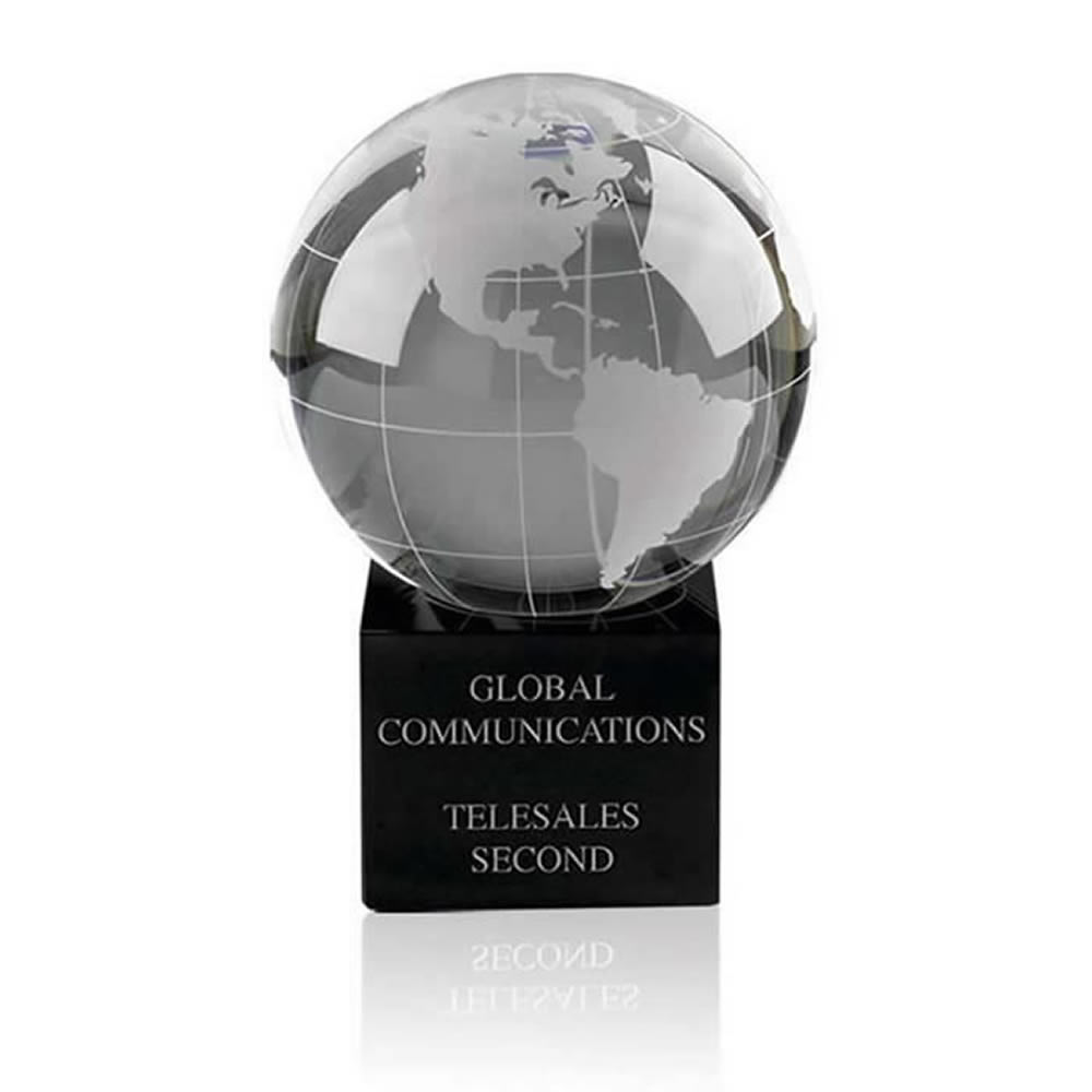 5 Inch World Globe Optical Crystal Award
