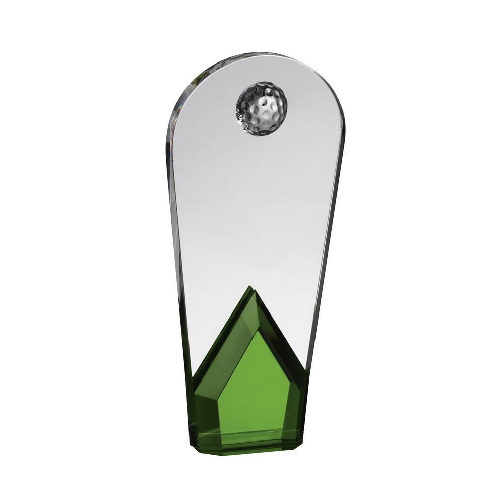 8 Inch Arch With Green Base Golf Optical Crystal Award