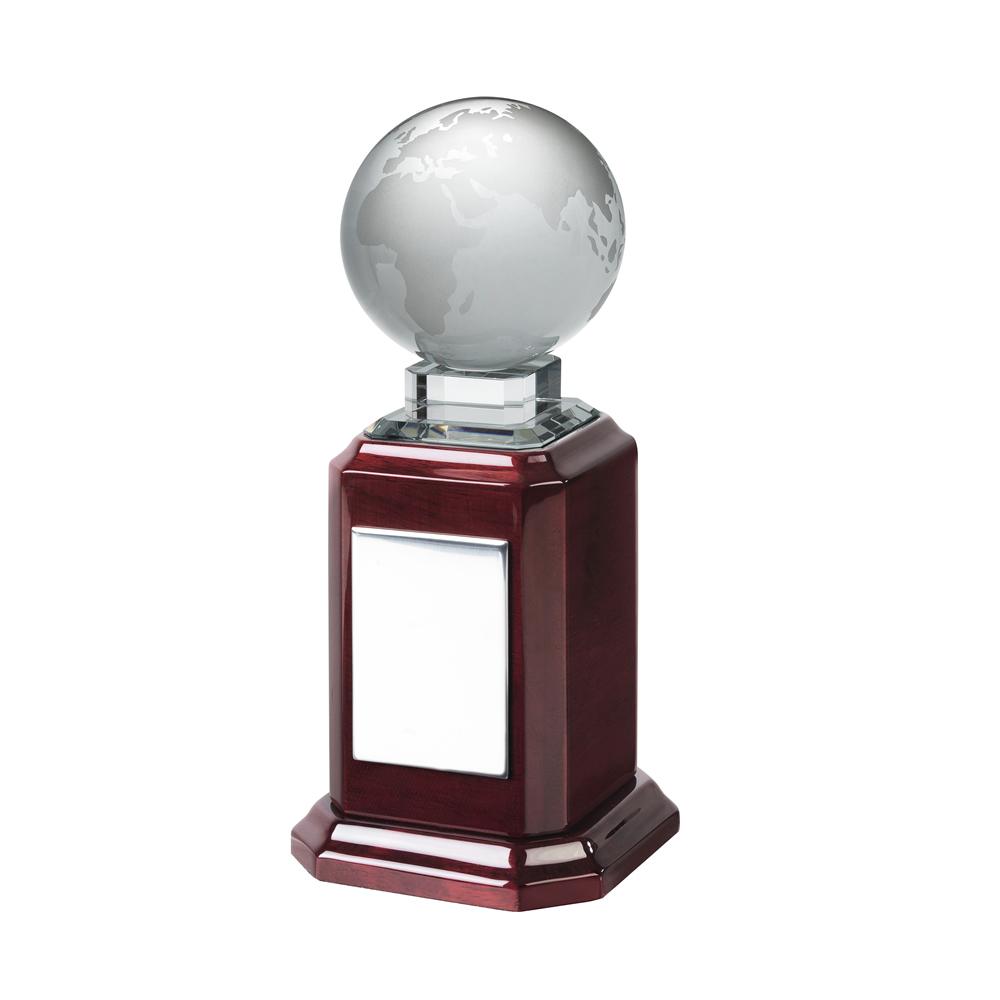 10 Inch Globe On Piano Wood Base Optical Crystal Award