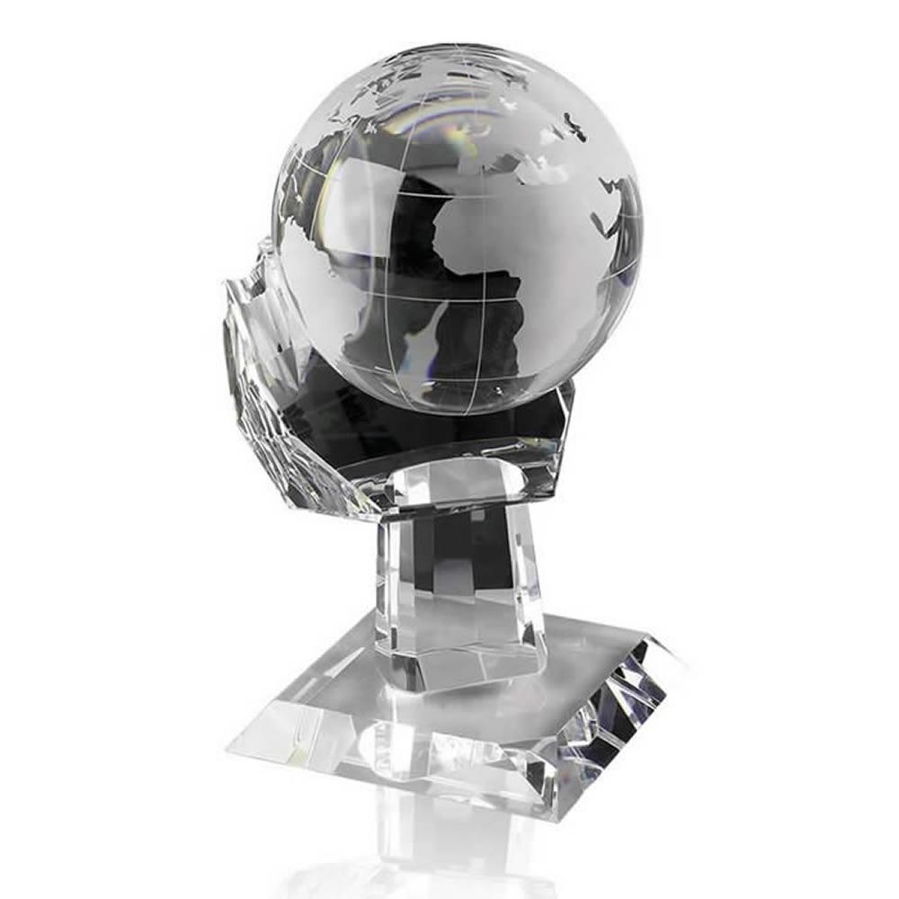 5 Inch Globe In Hand Optical Crystal Award