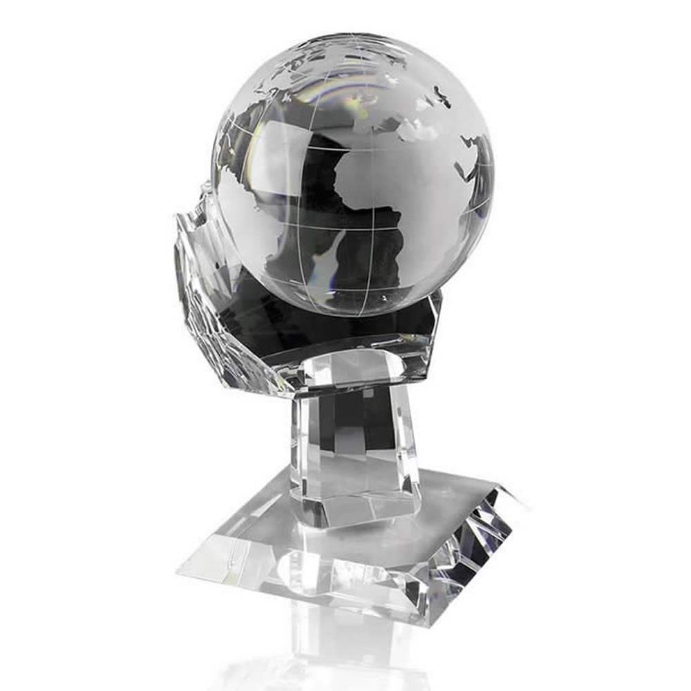 6 Inch Globe In Hand Optical Crystal Award