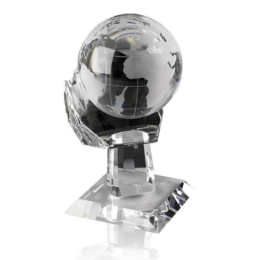 8 Inch Globe In Hand Optical Crystal Award