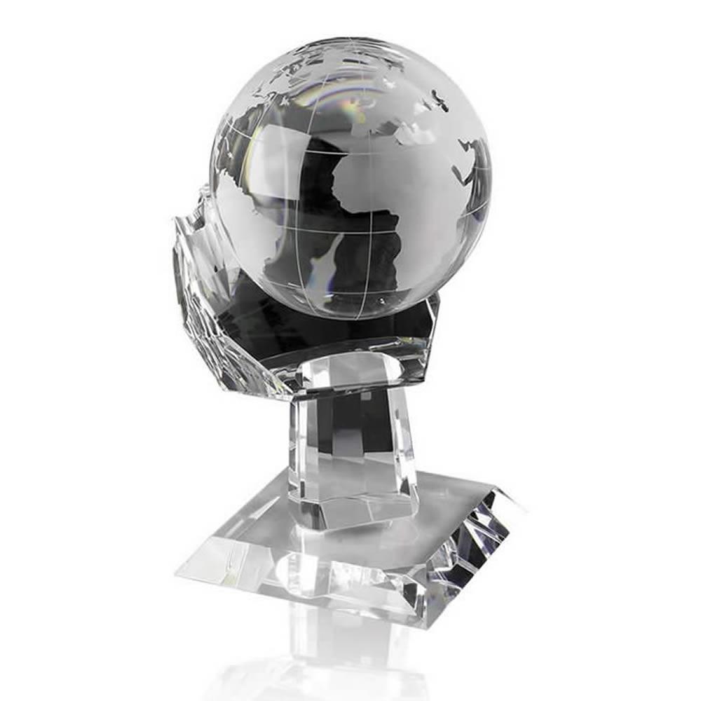 8 Inch Globe In Hand Optical Crystal Award