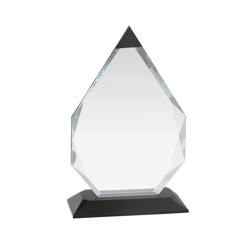 8 Inch Black Tipped Crystal Arrowhead Optical Crystal Award
