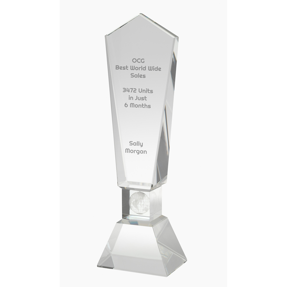 9 Inch Globe Lasered Stem Optical Crystal Award