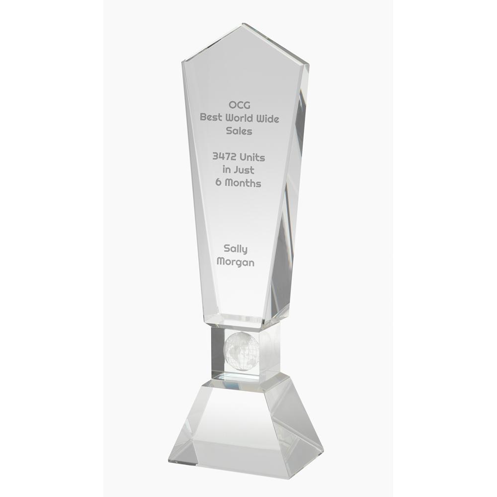 11 Inch Globe Lasered Stem Optical Crystal Award