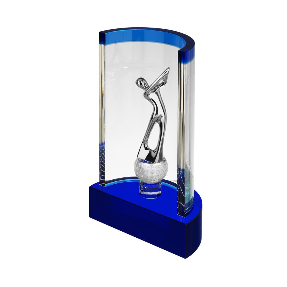10 x 6 x 3 Inch Clear & Blue Championns Golf Optical Crystal Award