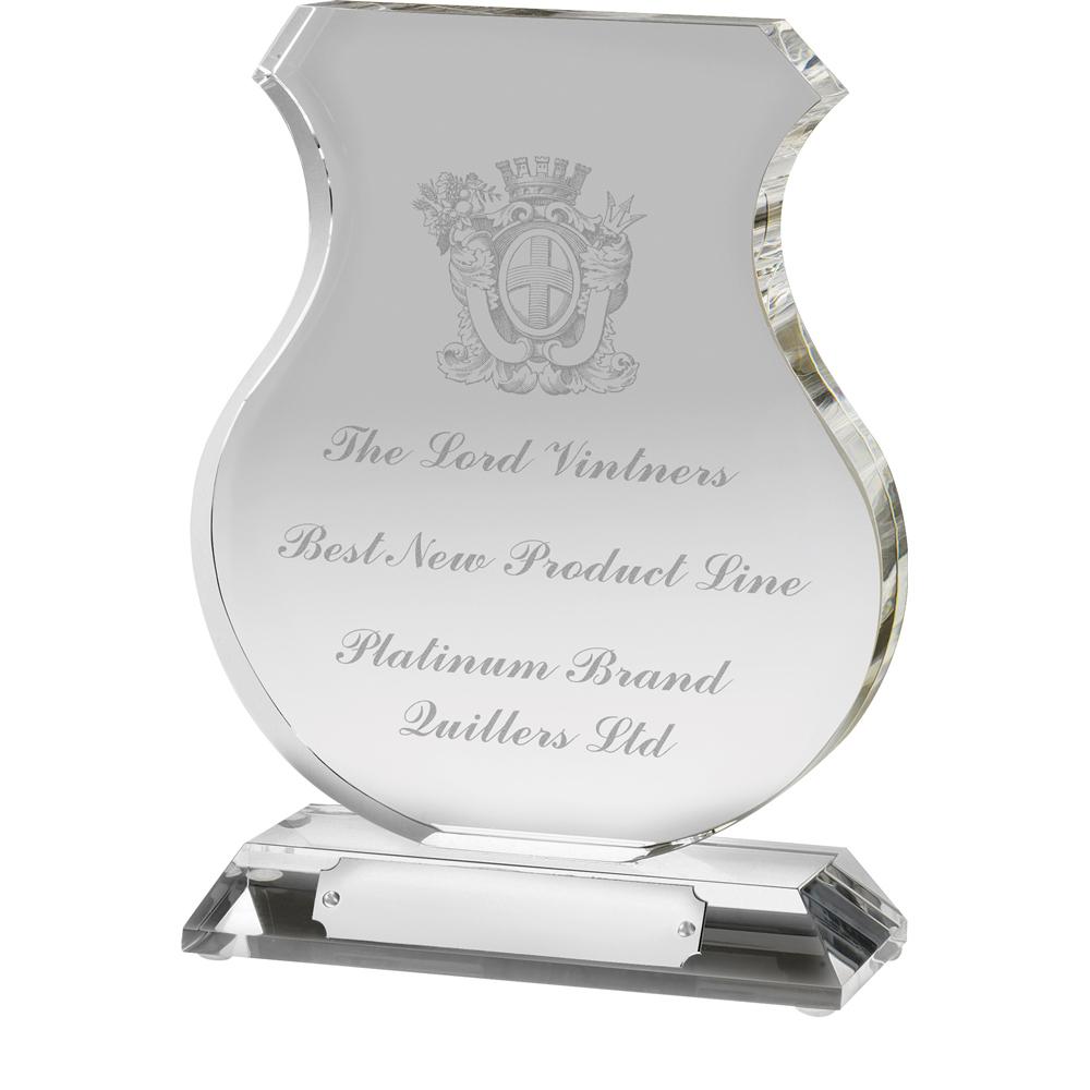 7 Inch Georgian Shield Optical Crystal Award