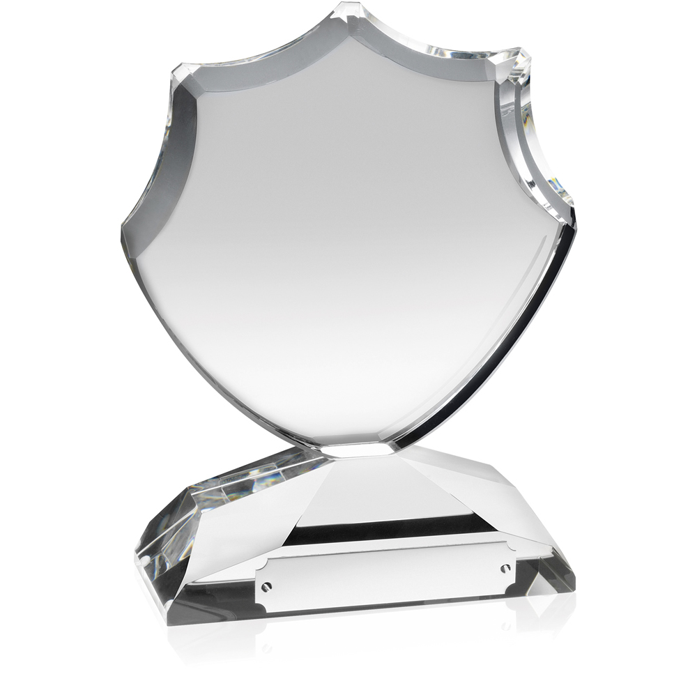 7 Inch Curved Shield Optical Crystal Award