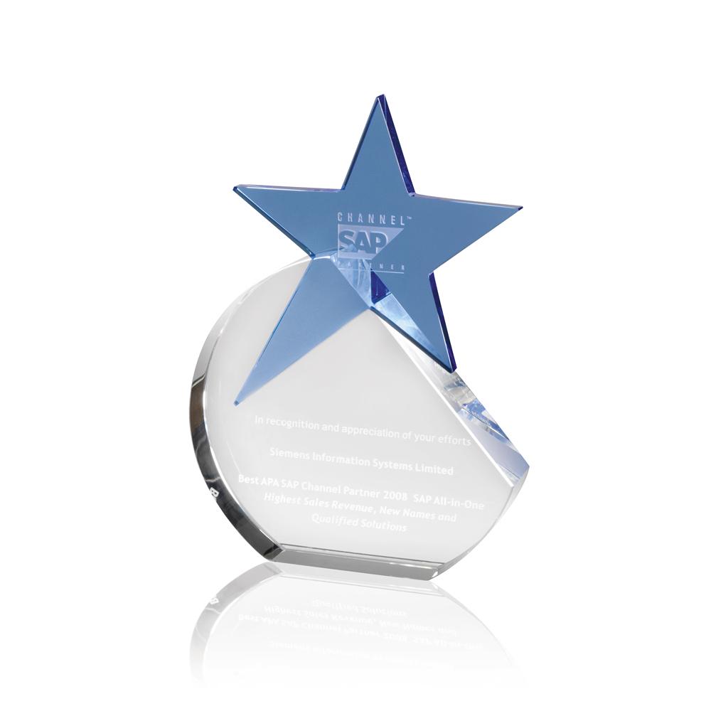 8 Inch Circular Blue Star Optical Crystal Award