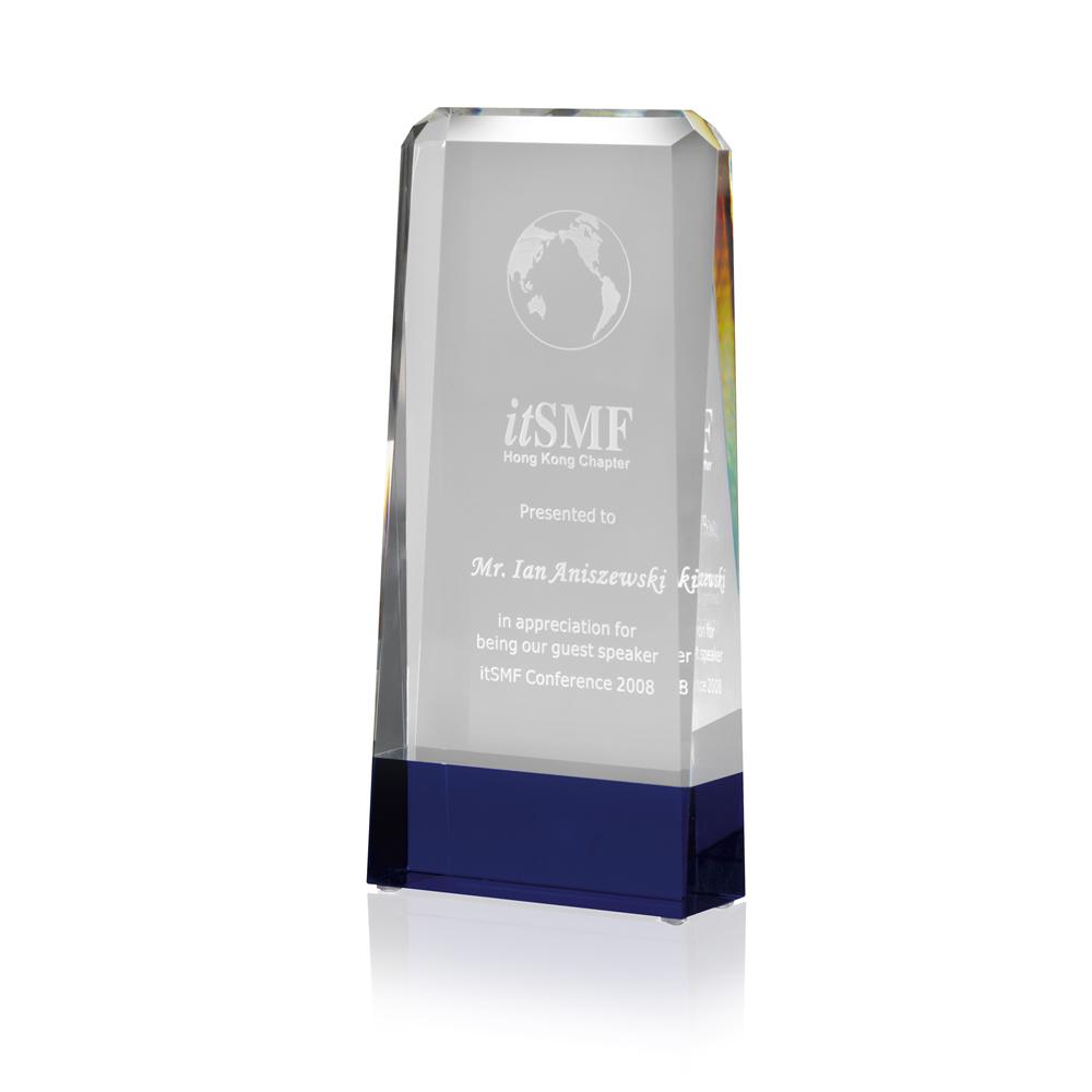 9 Inch Solid Stripe Optical Crystal Award