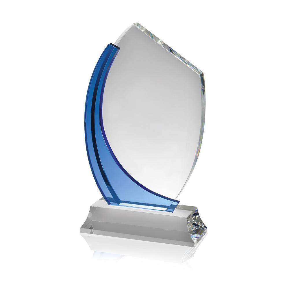 7 Inch Clear & Blue Swirl Optical Crystal Award