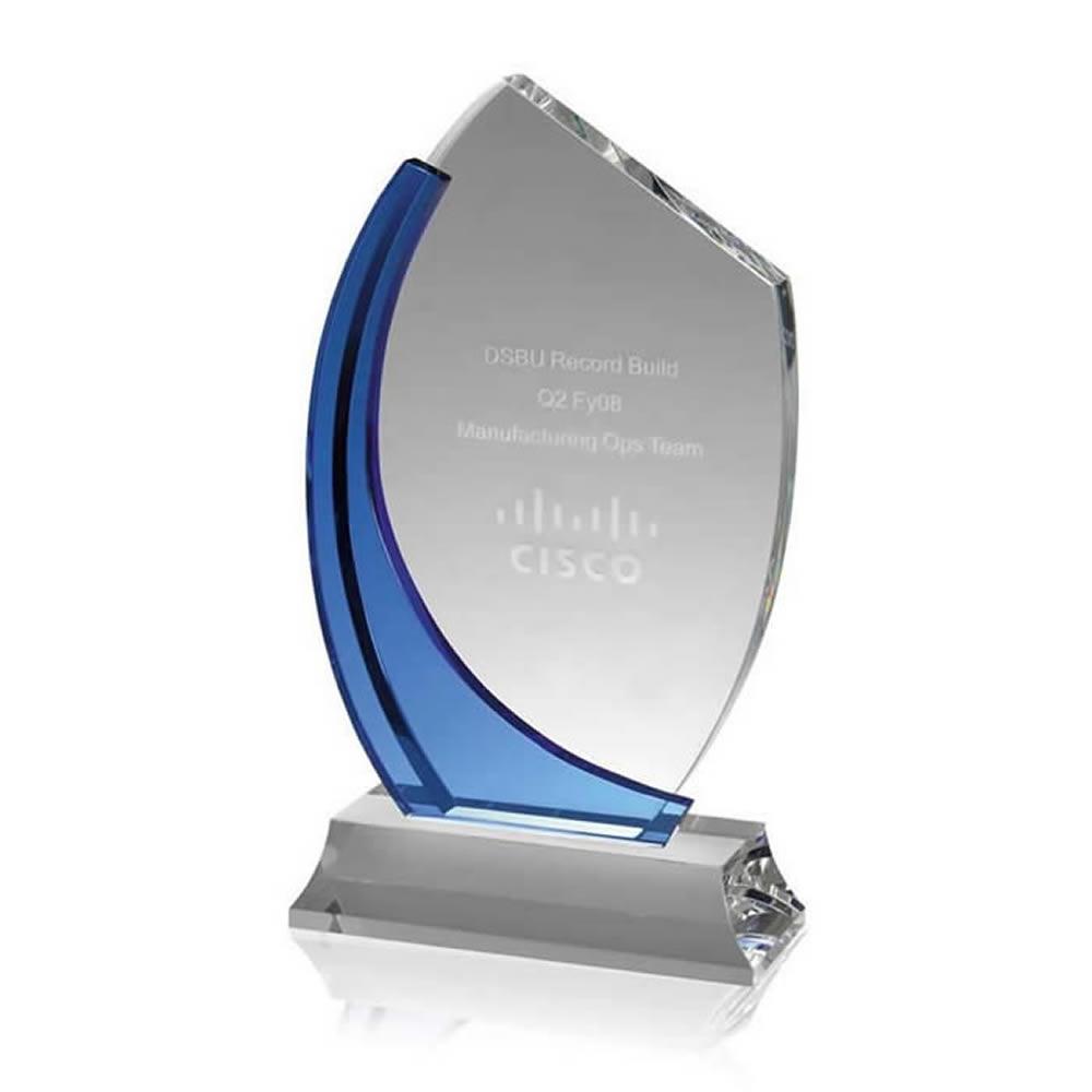 11 Inch Clear & Blue Swirl Optical Crystal Award