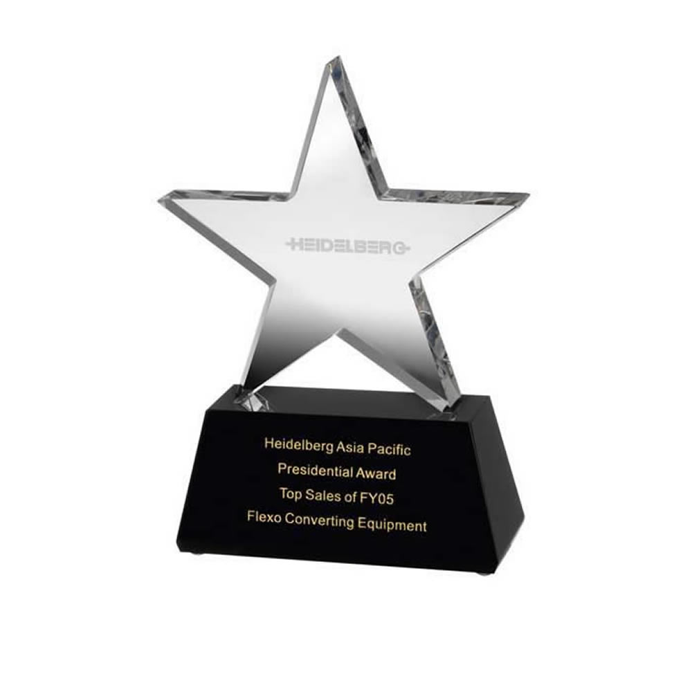 6 Inch Clear Star On Black Base Optical Crystal Award