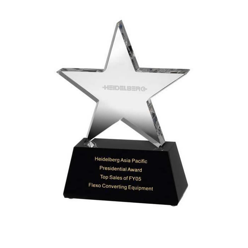 8 Inch Clear Star On Black Base Optical Crystal Award