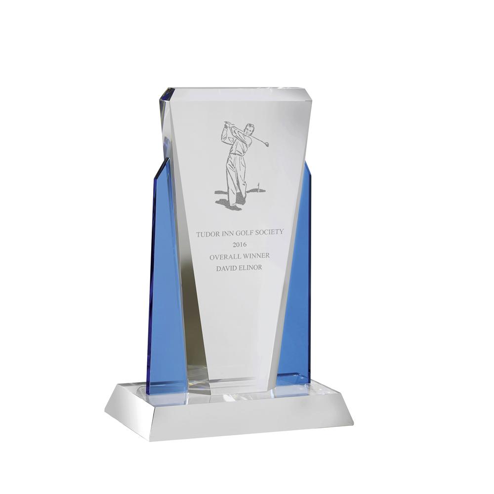11 Inch Tall Clear & Blue Framed Optical Crystal Award