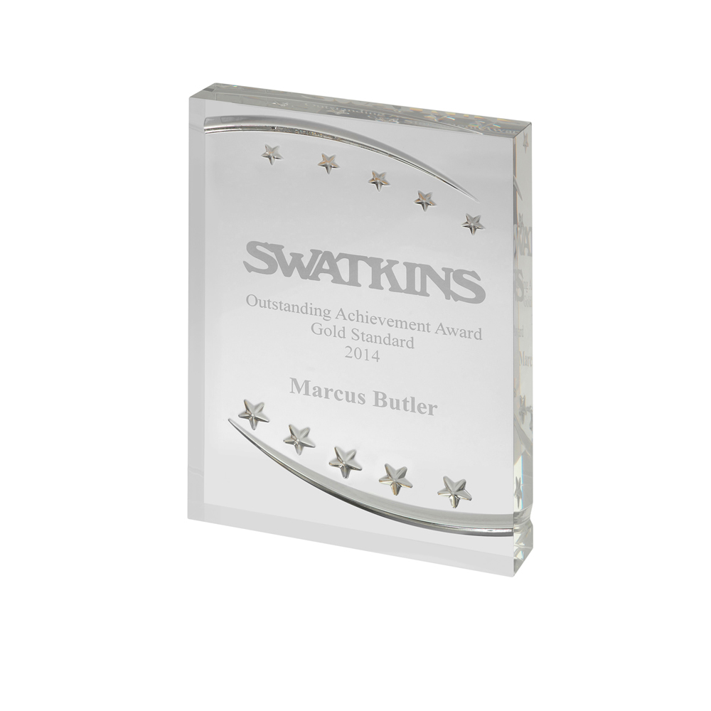 7 x 5 Inch Freestanding With Embossed Stars Acrylic Award