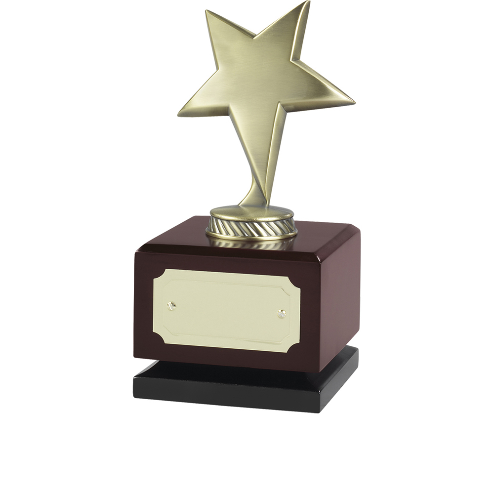 7 Inch Antique Gold Finish On Wooden Base Jaunlet Star Award