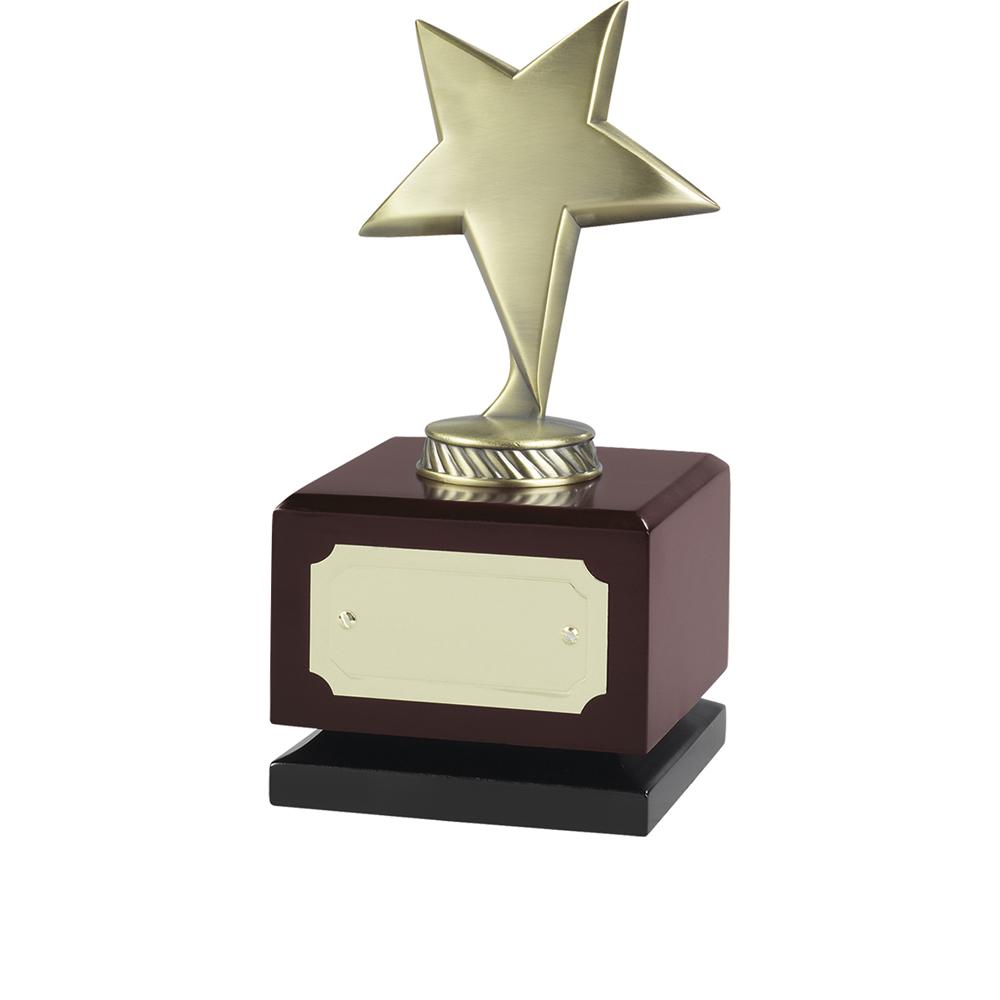 7 Inch Antique Gold Finish On Wooden Base Jaunlet Star Award