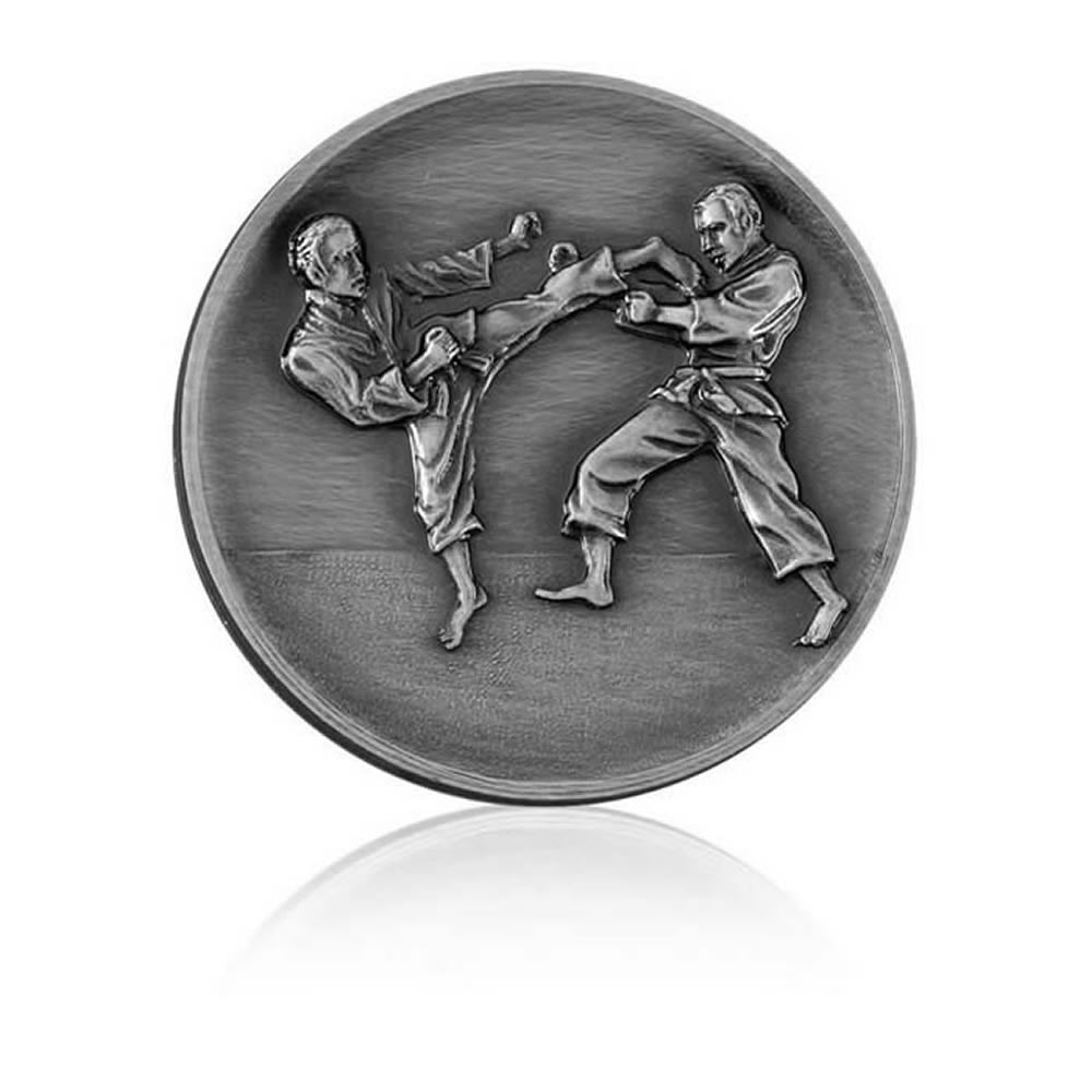 2 Inch Karate Silver Finish Medal