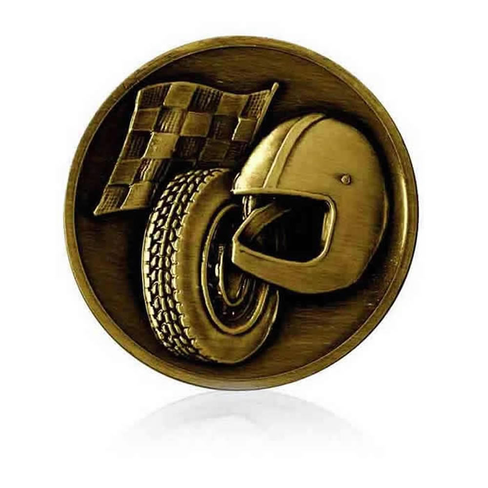 2 Inch Racing Gold Finish Medal