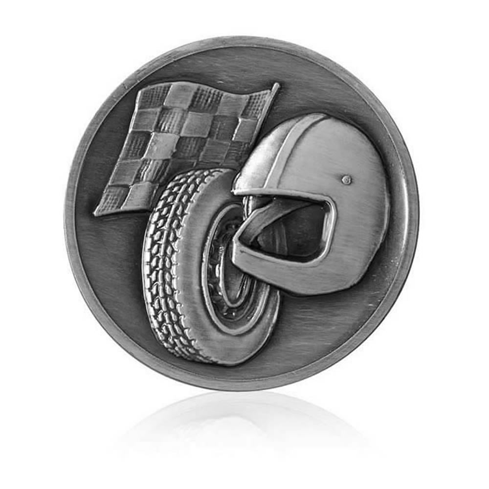 2 Inch Racing Silver Finish Medal