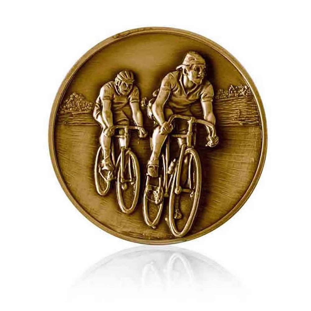 2 Inch Cycling Bronze Finish Medal