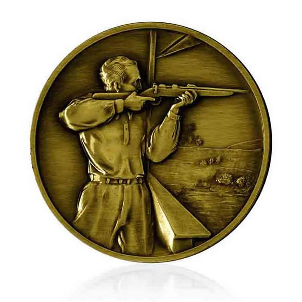 2 Inch Shooting Gold Finish Medal
