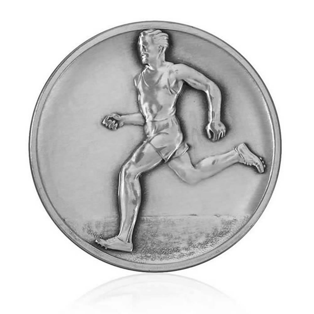 2 Inch Running Silver Finish Medal