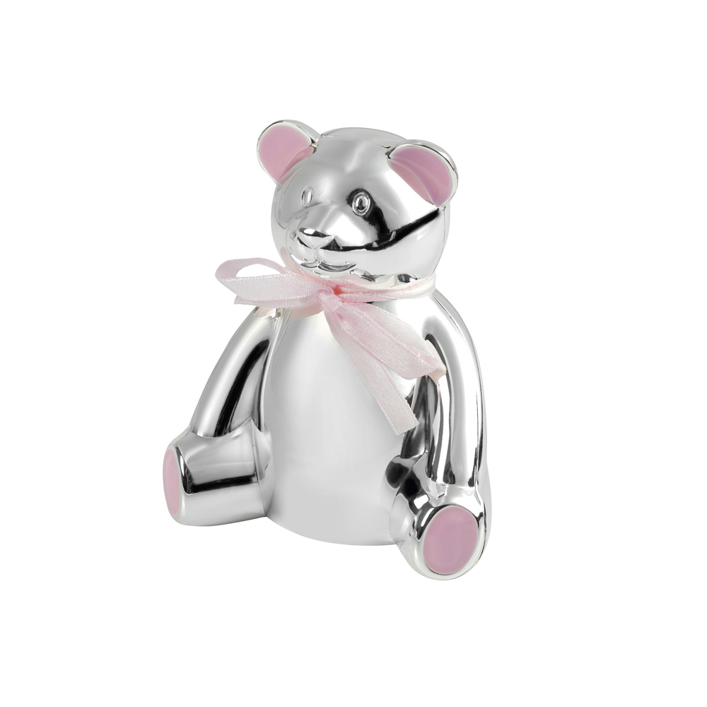 4 Inch Teddy Bear & Pink Bow Christening Occasions Money Box